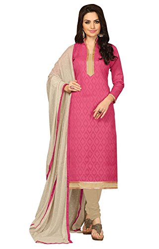 EthnicJunction Women's Cotton, Jacquard Straight Fit Unstitched Dress Material (EJ1110-102_Pink)