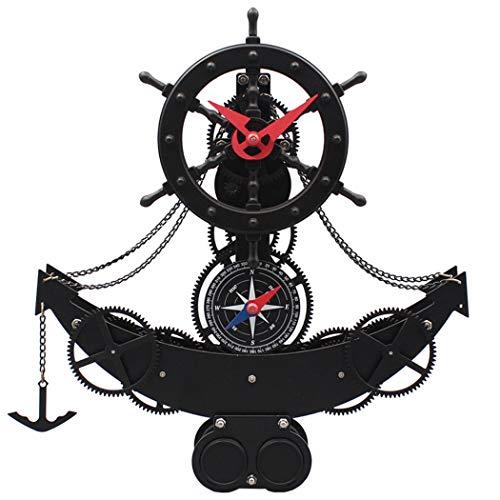 HONGNA Die Uhr des Europäischen Stils Der Ganguhr Der Europäischen Uhr des Schiffs Und Der Ruderwohnzimmerpendeluhr Piraten Schiffsuhr30.8 * 8 * 34.1cm (größe : 30.8 * 8 * 34.1cm)