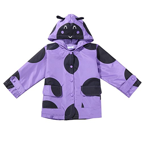 Arshiner Baby Kids Fleece Coat Jacket Carton Animal Hooded Raincoat Outerwear (110(Age for 3-4Y), Purple)