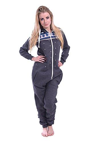 Newfacelook femmes dames imprimé sweat à capuche un zip capuche survêtement CHAR-PRINT