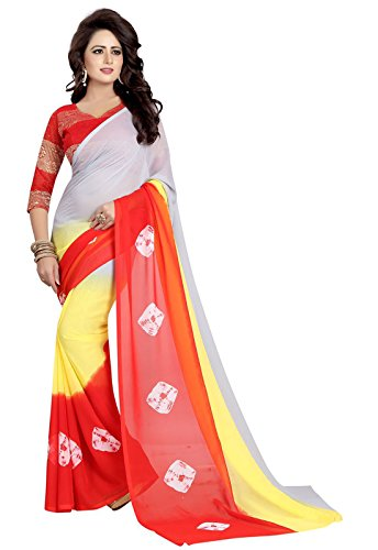 Ishin Faux Georgette Multicolor With Rassel Net Blouse Fabric Printed Party Wear Wedding Wear Casual Wear Festive Wear Bollywood New Collection Latest Design Trendy Women\'s Saree/Sari