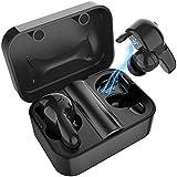 Auriculares Inalámbricos Bluetooth 5.0 con Sonido Estereo 3D Deportivos Auriculares Carga Rapida en 30 min IPX67 Resistente al Agua con Micrófono Dual con Caja de Carga para iPhone y Android(Negro)