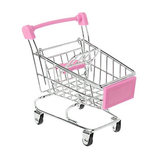 JAGENIE Mini Trolley Spielzeug Supermarkt Utility Carts Lagerung Klapp Warenkorb Korb Pink2