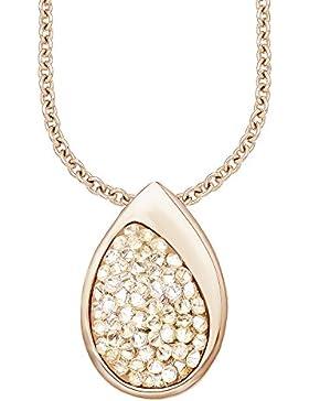 s. Oliver Damen-Kette mit Anhänger Swarovski Elements Edelstahl teilvergoldet Kristall weiß Rundschliff 45 cm...