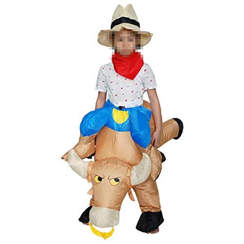 Kind Bull Kostüm - LOVEPET Erwachsenen Kind Bull Aufblasbare Kleidung Halloween Cowboy Ritter Kostüm Stier Ritter Cowboy Party Leistung Requisiten Bühnenshow Cartoon Kostüm