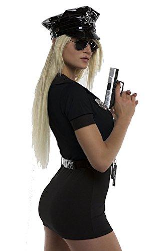 TrendClub100® Polizei Kostüm 5teilig Hut Kleid Handschellen Abzeichen Gürtel - Schwarz Polizeikostüm (M-L)
