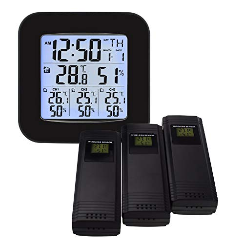 GAOYOO Estación Meteorológica con 3 Sensores Inalámbricos para Interiores/Exteriores Termómetro...