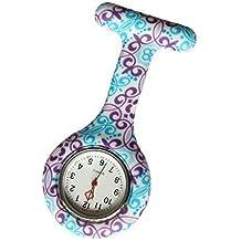 Reloj Médico Reloj Prendedor de Broche de Túnica de Paramédico Doctor Enfermera Silicón de Flores Geométricas Azul & Morado