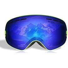 LESHP Gafas de Esquí 3 Capas de Espuma Cómodas Ajustables Desmontables Antifricción Anti-vaho Antivaho Desmontable Gafas de Nieve Gafas de snowboardí Esférica Más Amplia Visión 178×98mm Color Rojo Gafas Ski (Color Verde para Adultos)