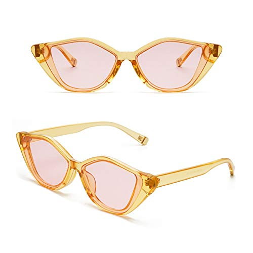 YHgiway UV400 Schutz Cat Eye Sonnenbrille Transparent Ton Rahmen Vintage Mod Stil Retro Kurt Cobain Sunglasses YH6872,Yellow/pink