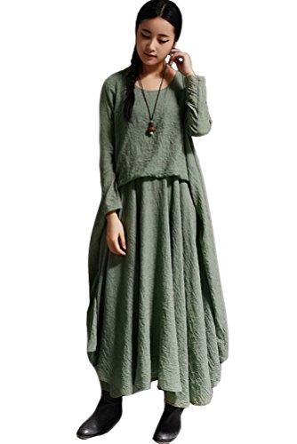 Vogstyle Damen Rundhals Langarm-Kleid mit großer Rand Grün