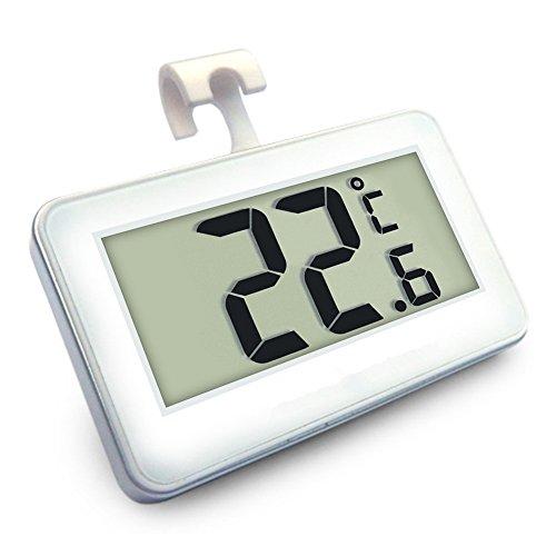 Suo SI Kühlschrank Thermometer, Mini LCD Digital Wasserdicht Kühlschrank Gefrierschrank Thermometer, tragbar Frost Alarm Temperatur Monitor (weiß)