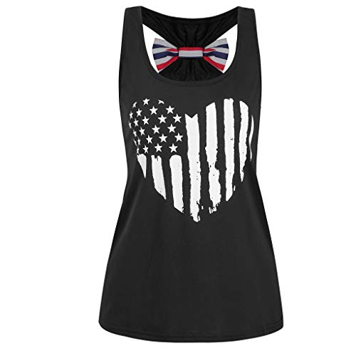 LSAltd Sommer Frauen Klassische amerikanische Flagge patriotische Herz Print Bequeme Baumwolle Tank Tops Damen Casual Bowknot ärmellose Weste T-Shirt