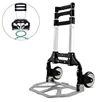 Bonnlo Folding Hand Truck Aluminum Portable Folding Hand Cart 80KG Capacity, Hand Trolley Ideal for Home, Auto, Office, Travel Use
