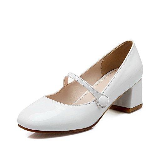 AgooLar Damen Mittler Absatz Rein Ziehen Auf Quadratisch Zehe Pumps Schuhe Weiß