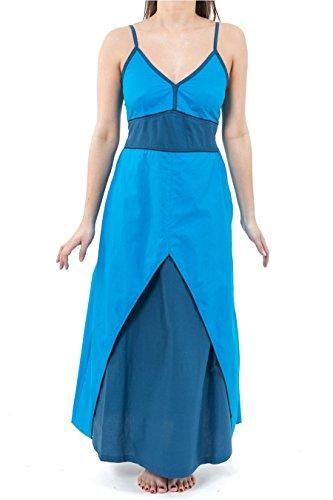 Vestito lungo da principessa etnica, color petrolio Muscari, colore: turchese blu 2XL
