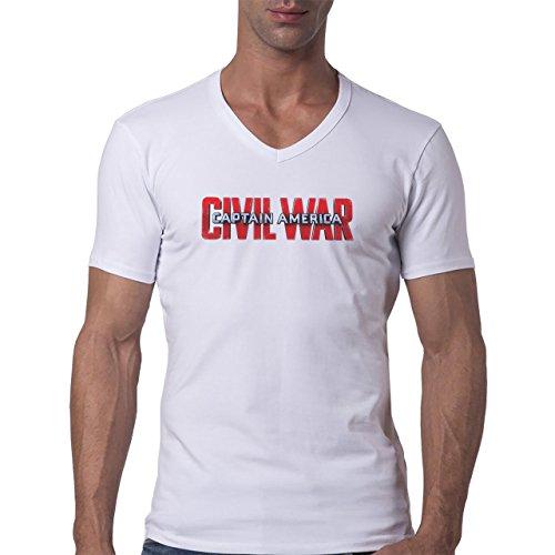 Movie Poster Captain America Civil War Logo Art Herren V-Neck T-Shirt Weiß