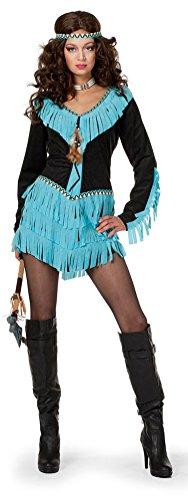 Karneval-Klamotten Indianer-in Kostüm Damen Indianerin Kostüme schwarz-türkis sexy Damenkostüm Kleid inkl. Stirnband Größe 46