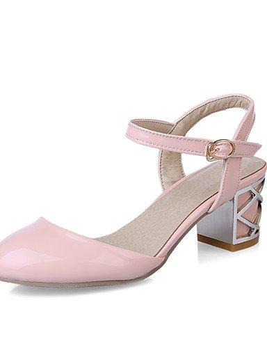 WSS 2016 Chaussures Femme-Bureau & Travail / Décontracté-Bleu / Rose / Blanc-Gros Talon-Confort / Bout Arrondi-Talons-Cuir Verni blue-us5 / eu35 / uk3 / cn34