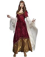 Mystica Prinzessin Kostüm Damen Elfen Gewand Mittelalter Kleid rot gold