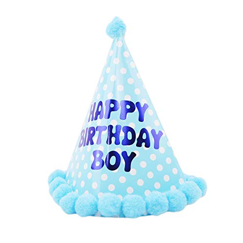 Bigsweety Runde Dot Geburtstag Hüte Kuchen Kegel Cap mit Ball Festival Party Hochzeit Dekorationen für Jungen (Stil 2)