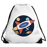 Eurofoto Turnbeutel mit Namen Jordan und Weltraum-Motiv mit Rakete für Jungen | Sport-Beutel für Kinder | Gymbag