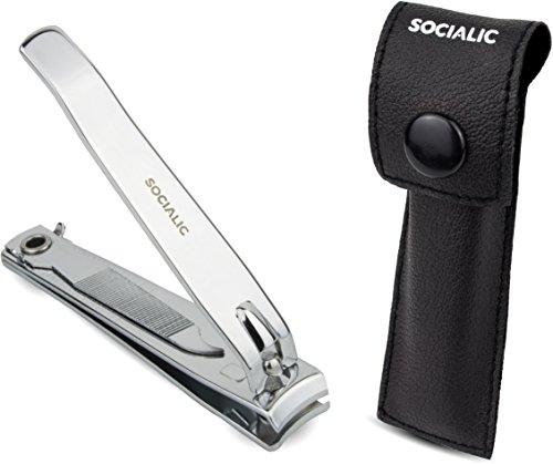 Socialic® Premium Nagelknipser Set - Extra scharfer Nagelzwicker groß [8 cm] inkl. Etui und Feile - scharfer und glatter Schnitt - Nagelschneider für Finger- und Fußnägel