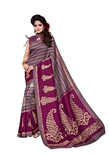 Dream Beauty Fashion Sarees Daily Wear Stripe & Geometric Print Multi-Color Cotton Sari With Blouse (Malgudi-4350)