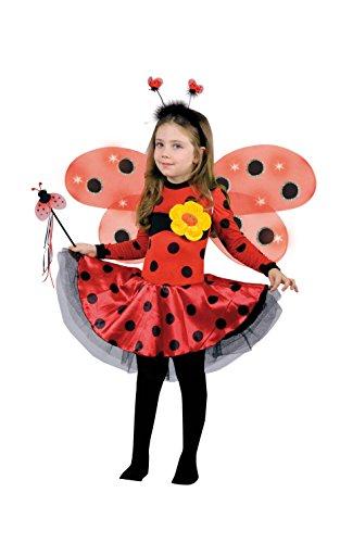 Ciao - coccinella lucine del bosco costume bambina con ali luminose, 4-6 anni