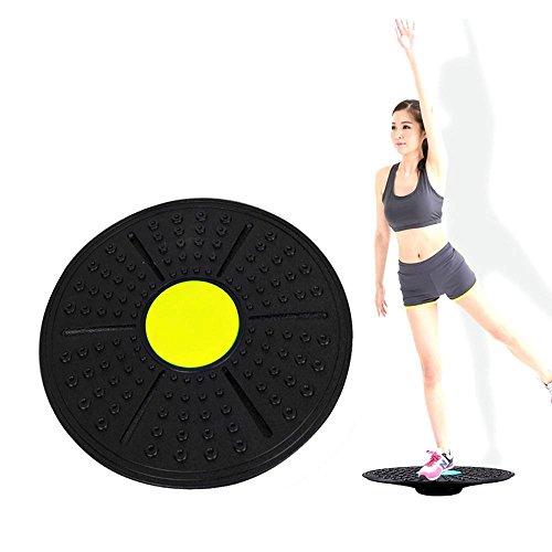 Aolvo Balance Board, 36cm Wobble Board Physio Balance Board verstellbar Balance Board für Workout, Fitness, Balance Training und Rehabilitation, rutschfest & Safe Pad gelb
