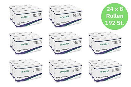 Hypafol Toilettenpapier motivgeprägt, 3-lagig | Vorteilspack mit 192 Rollen Klopapier | extra weich und reißfest | Vorratspack, 24 x 8 Rollen | aus hochwertigem super weißem Zellstoff