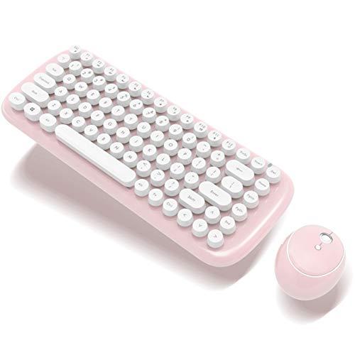 2.4G Mini Drahtlose Tastatur Punk Schokolade Tastenkappe Drahtlose Maus Und Tastatur Büro Tastatur Maus Benutzerdefinierte Set Leicht Zu Tragen Geeignet Für Mädchen 4 Farben,Pink - Stilvolle Drahtlose Tastatur