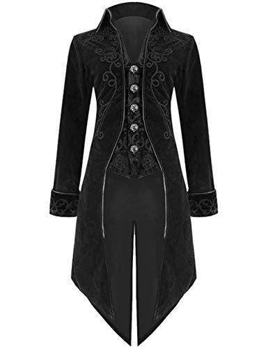 EZSTAX Mittelalter Frackjacke Vintage Herren Kostüm Gothic Uniform Anzug für Party Karneval Fastnacht Fasching Halloween,Schwarz,M