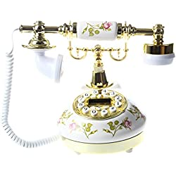 SODIAL(R) Antique Design Telephone Nostalgie Telescope Vintage Telephone en Ceramique MS-9100