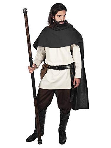 Authentische Robin Kostüm Hood - Andracor - Hochwertiger kurzer Kelten-Umhang mit Kapuze - Schwarz - individuell einsetzbar für Mittelalter, LARP, Cosplay & Fantasy