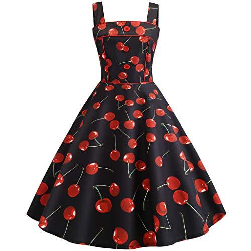 AIni Damen Vintage ÄRmelloses Elegant 50er Jahre Petticoat Kleider Gepunkte Rockabilly Kleider Cocktailkleider Partykleid Ballkleid Festkleid (Kleinkind Vintage-anzüge)
