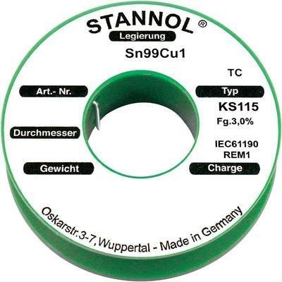 Stannol KS115 Lötzinn, bleifrei Spule Sn99.3Cu0.7 100g 1.5mm