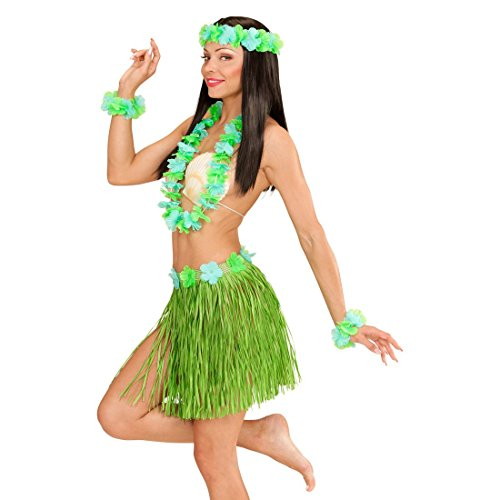 NET TOYS Damen Hawaii Set grün Sommer Kostüm Hularock Bast Rock Armband Bastrock Hawaiikette Blumenkette Aloha Schmuck Blumen Kette Kopfschmuck
