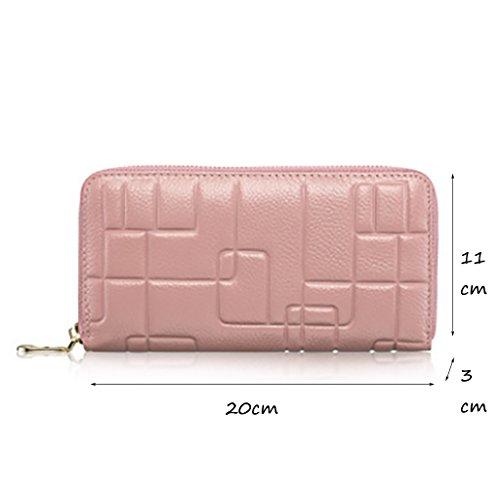 CLOTHES- Sacchetto di borsa dell'inarcamento della borsa del raccoglitore del cuoio della signora della borsa Sezione lunga Semplicità di svago Borsa di multi-card di capacità elevata ( Colore : Viola Rosa
