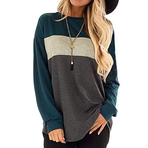 (Yvelands Damen T-Shirt Lange Ärmel der Frauen Rundhalsausschnitt Tunika Tees Lässige lose Farbe Block Tops Bluse(Blau,CN-M))
