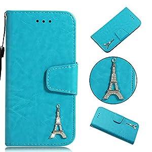 Cozy Hut Huawei Mate 20 Hülle Blau, Premium PU Leder Flip Wallet Case mit Standfunktion Karteneinschub und Magnetverschluß Schutzhülle für Huawei Mate 20 – Eule Blau