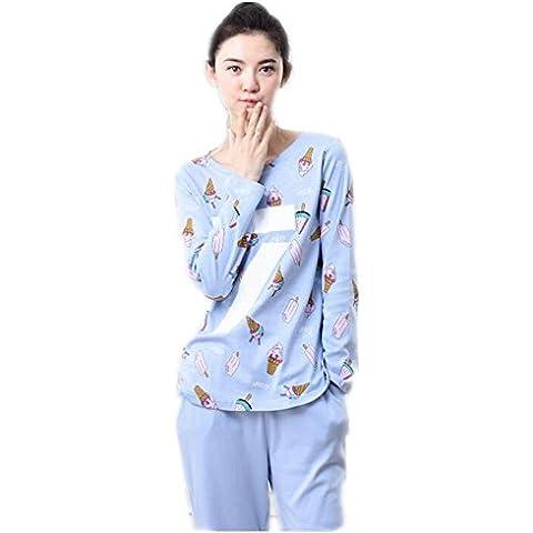 LIUDOU Pijama chicas Linda de la historieta manga larga algodón ropa trajes de algodón , blue , xl