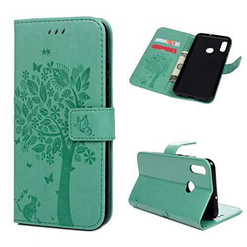 Edauto Hülle für Huawei P Smart 2019 / Honor 10 Lite Leder Handyhülle Flip Case Tasche Wallet PU Schutzhülle Bookstyle Ständer Kartensätze Magnetisch Handytasche Baum Minzgrün
