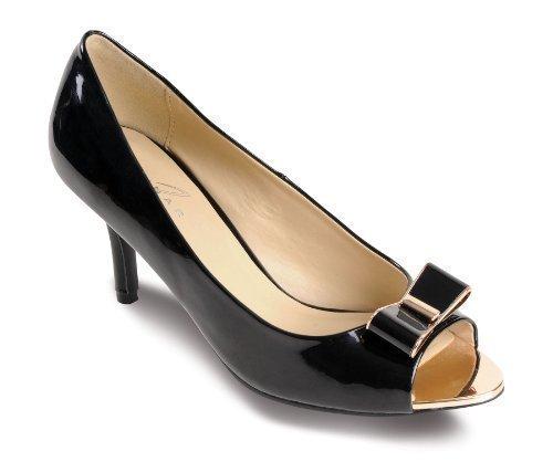 Fantasia - Chaussure Femme Talon Chaton Verni Noeud Doré Contraste Noir - Noir