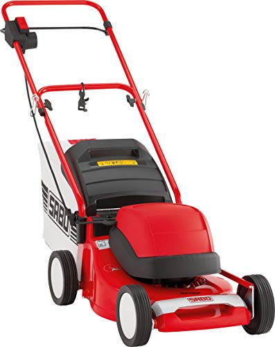 SABO Elektro-Rasenmäher 43-EL Compact, Schnittbreite 43 cm, Schnitthöhe 22-80 mm, Robustes Alu-Chassis, Nennleistung von 1,5 kW, 55 L Grasfangkorb, max. Rasenfläche 700 m²/h, Start per Knopfdruck