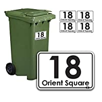 K Smart Sign Ltd Personalised Printed Wheelie Bin Number Stickers with number and road Name - A6 Vinyl Waste Container Decals - set of 4 1 (A6) CUSTOM BIN LABELS