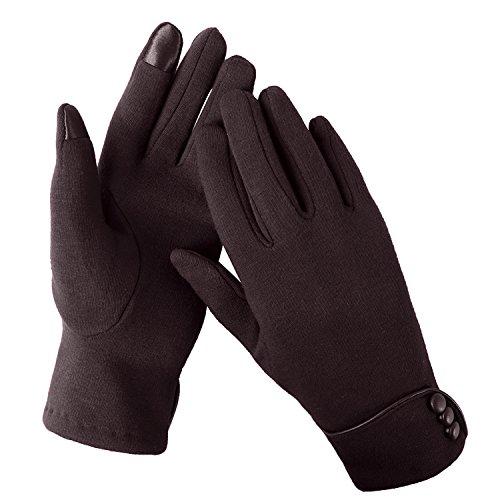 Warme Winter-handschuhe (Aibrou Touchscreen Handschuhe Damen Winterhandschuhe Fahrradschuhe Frauen Handschuhe Winter Warm Handschuhe mit Fleecefutter in Rot, Schwarz und Grau (Normal, Kaffee))