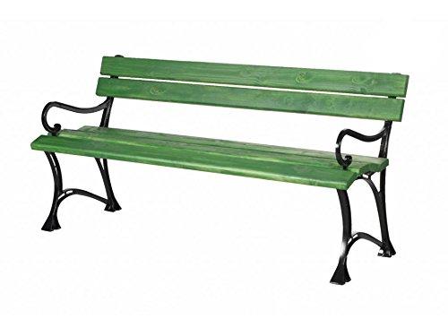 Panchine Da Giardino In Alluminio.Oro Garden Panchina Da Giardino Con Braccioli Toscana Legno Massiccio Su Telaio In Alluminio Verde In 2 Misure