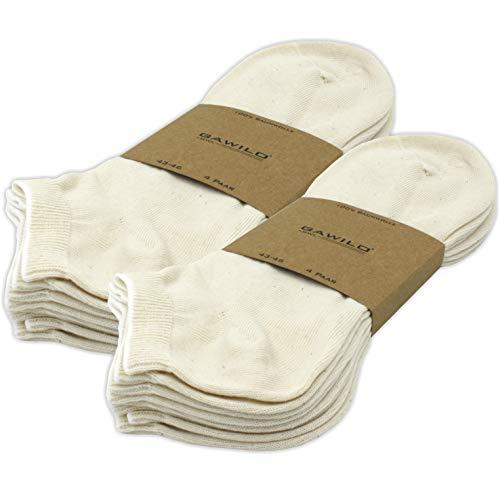 GAWILO 8 Paar Natur Sneaker Socken – Damen & Herren – 100% Baumwolle – ohne Naht - kochfest (39-42, Natur)