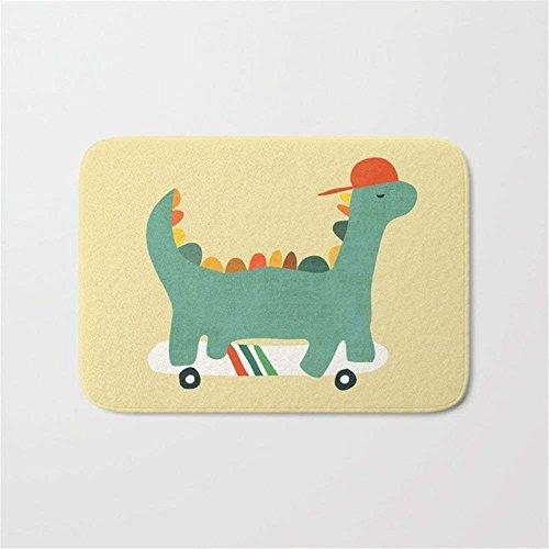 EJjheadband Dinosaur on Retro Skateboard Doormat Bath Door Mat (15.7 x 23.6 Inches)